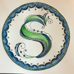 S Zentangle Letters Watercolor